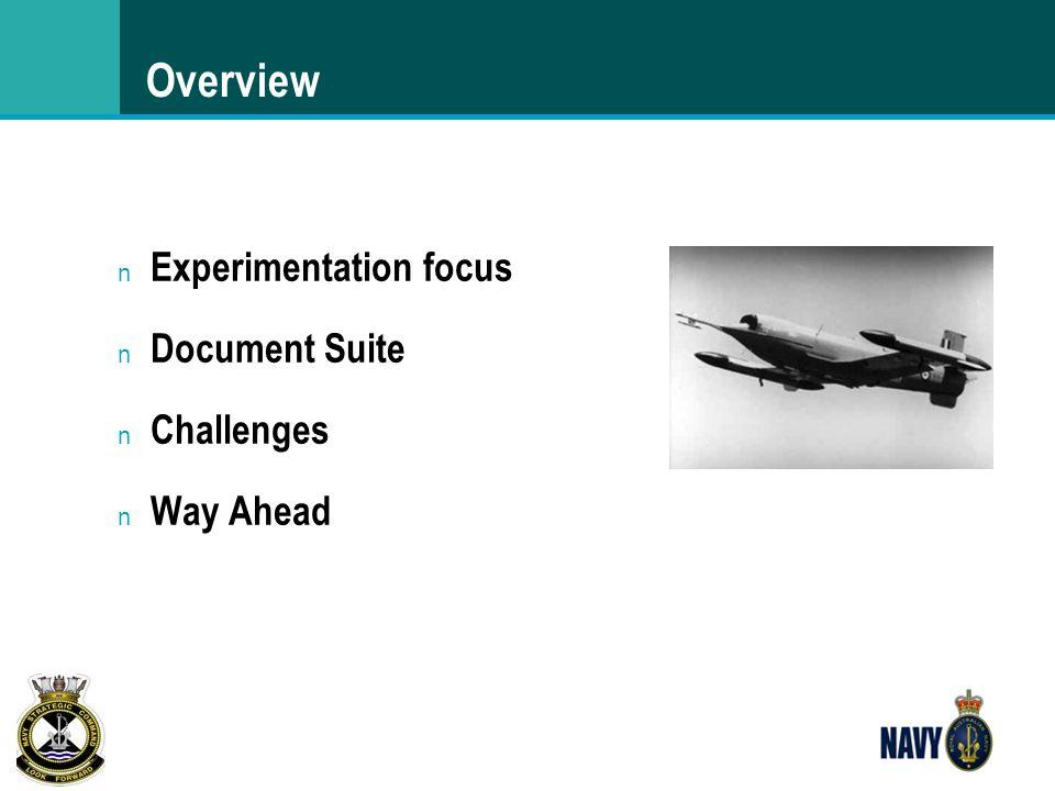 Overview n Experimentation focus n Document Suite n Challenges n Way Ahead
