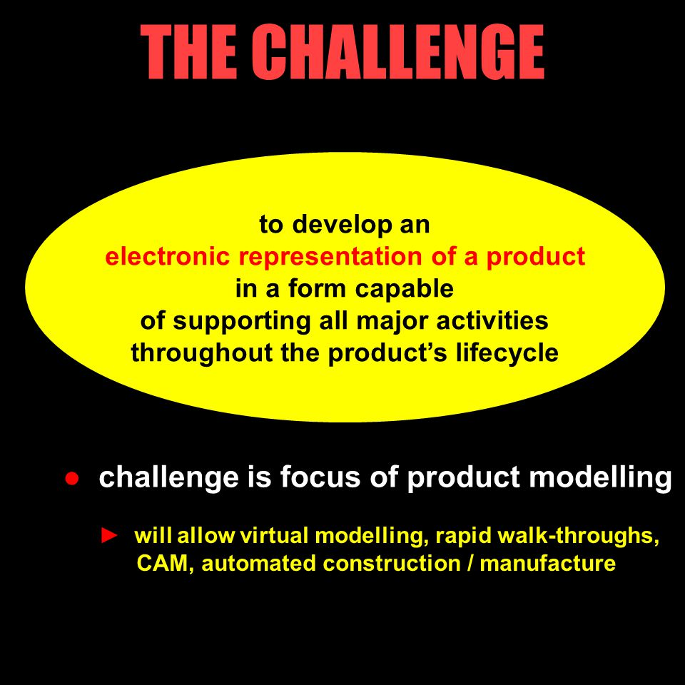 to develop an electronic representation of a product in a form capable of supporting all major activities throughout the product's lifecycle THE CHALLENGE ● challenge is focus of product modelling ► will allow virtual modelling, rapid walk-throughs, CAM, automated construction / manufacture 14/18
