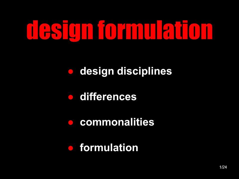 design formulation ● design disciplines ● differences ● commonalities ● formulation 1/24