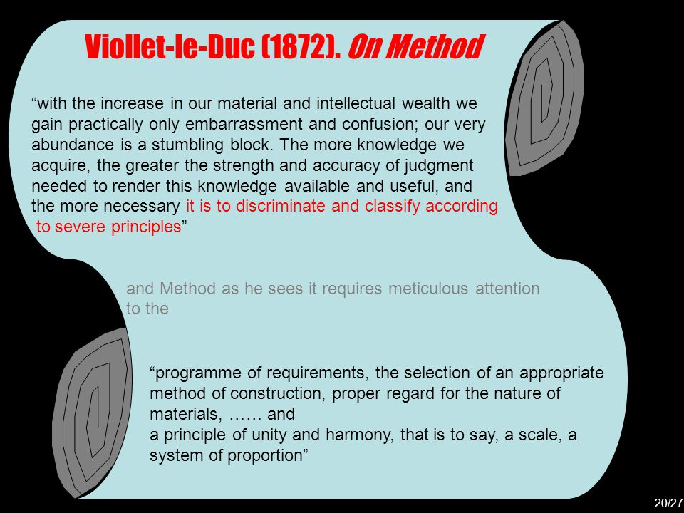 """Viollet-le-Duc (1872). On Method """"with the increase in our material and intellectual wealth we gain practically only embarrassment and confusion; our"""
