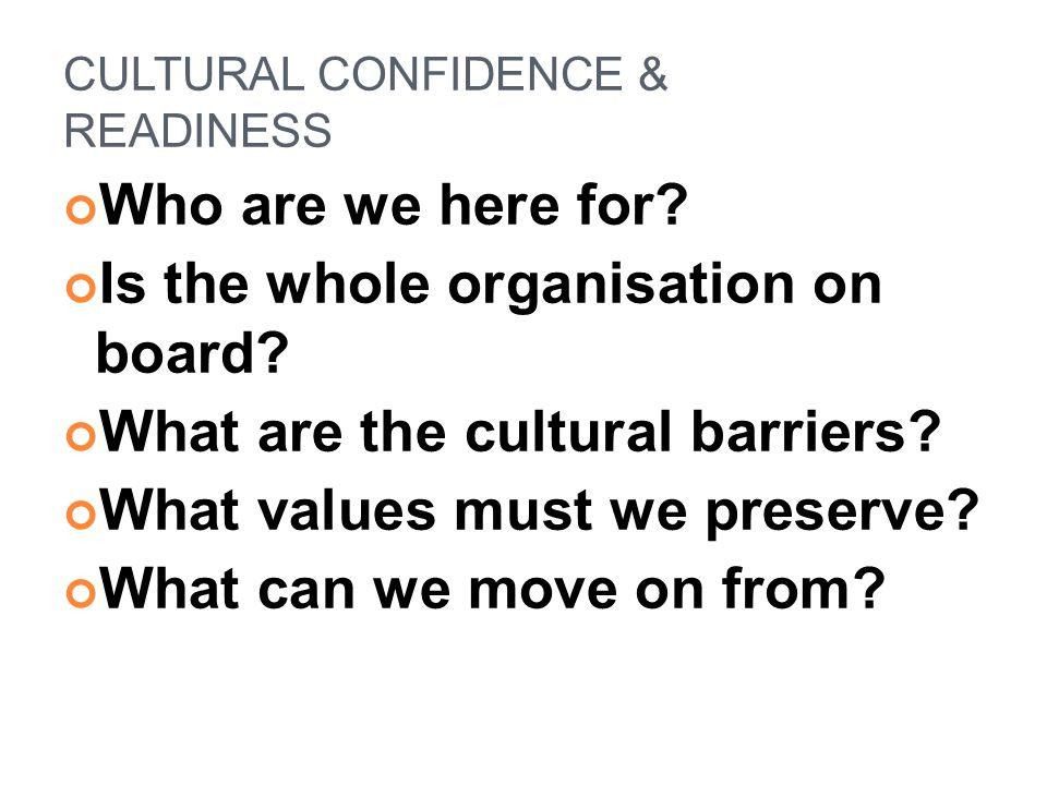 CULTURAL CONFIDENCE & READINESS Who are we here for? Is the whole organisation on board? What are the cultural barriers? What values must we preserve?