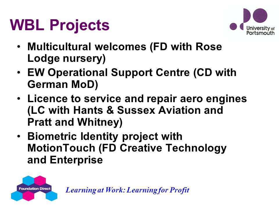 WBL Projects Multicultural welcomes (FD with Rose Lodge nursery) EW Operational Support Centre (CD with German MoD) Licence to service and repair aero engines (LC with Hants & Sussex Aviation and Pratt and Whitney) Biometric Identity project with MotionTouch (FD Creative Technology and Enterprise Learning at Work: Learning for Profit