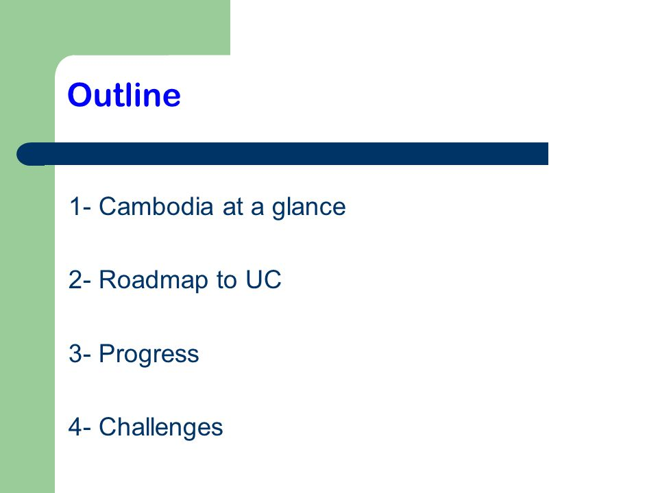 3 1-Cambodia at a glance Population >14 million; >80% are rural farmers 27 % living under poverty line & almost 90% in rural area GDP per capita = US$853 OOP= 2/3
