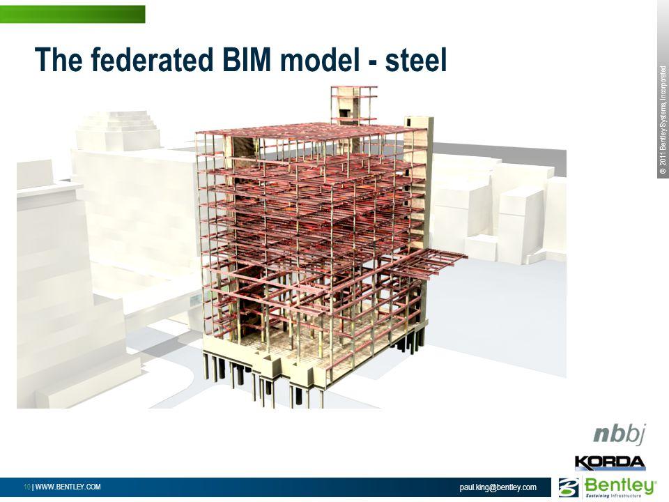 © 2011 Bentley Systems, Incorporated 10 | WWW.BENTLEY.COM paul.king@bentley.com The federated BIM model - steel