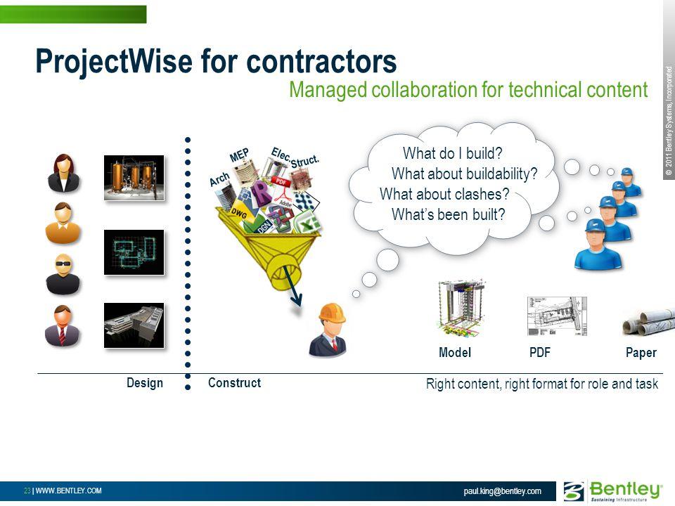 © 2011 Bentley Systems, Incorporated 23 | WWW.BENTLEY.COM ProjectWise for contractors paul.king@bentley.com Arch MEP Elec.
