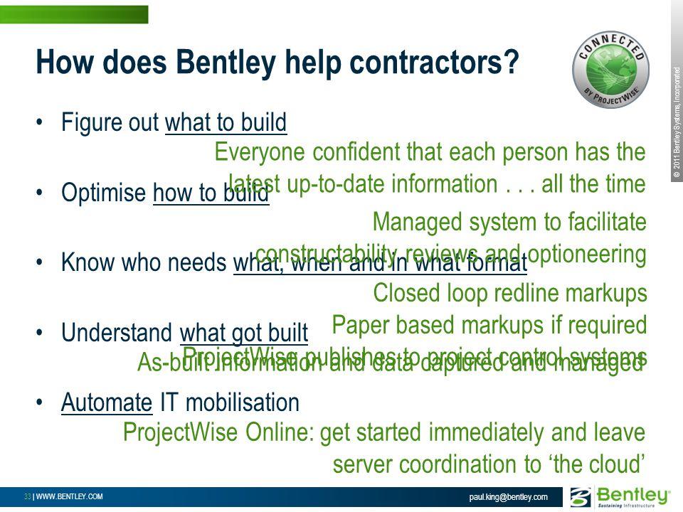 © 2011 Bentley Systems, Incorporated 33 | WWW.BENTLEY.COM How does Bentley help contractors.