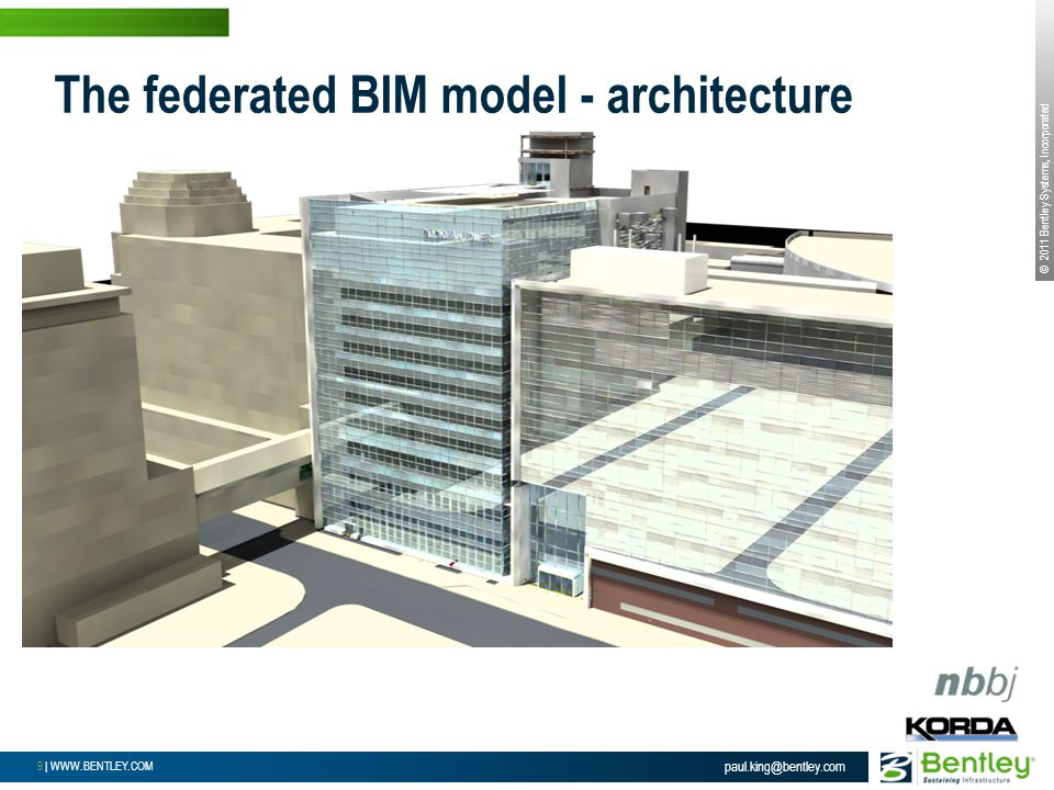 © 2011 Bentley Systems, Incorporated 9 | WWW.BENTLEY.COM paul.king@bentley.com The federated BIM model - architecture