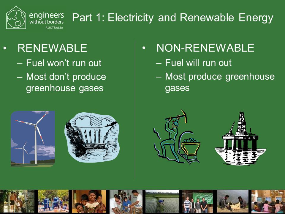 Part 1: Electricity and Renewable Energy RENEWABLE –Fuel won't run out –Most don't produce greenhouse gases NON-RENEWABLE –Fuel will run out –Most produce greenhouse gases