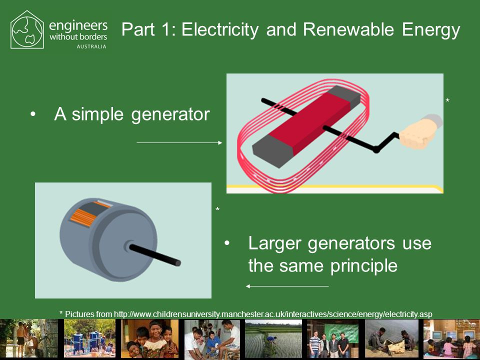 Part 1: Electricity and Renewable Energy A simple generator Larger generators use the same principle * Pictures from http://www.childrensuniversity.manchester.ac.uk/interactives/science/energy/electricity.asp * *