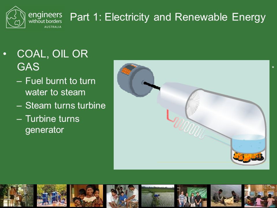 Part 1: Electricity and Renewable Energy COAL, OIL OR GAS –Fuel burnt to turn water to steam –Steam turns turbine –Turbine turns generator *