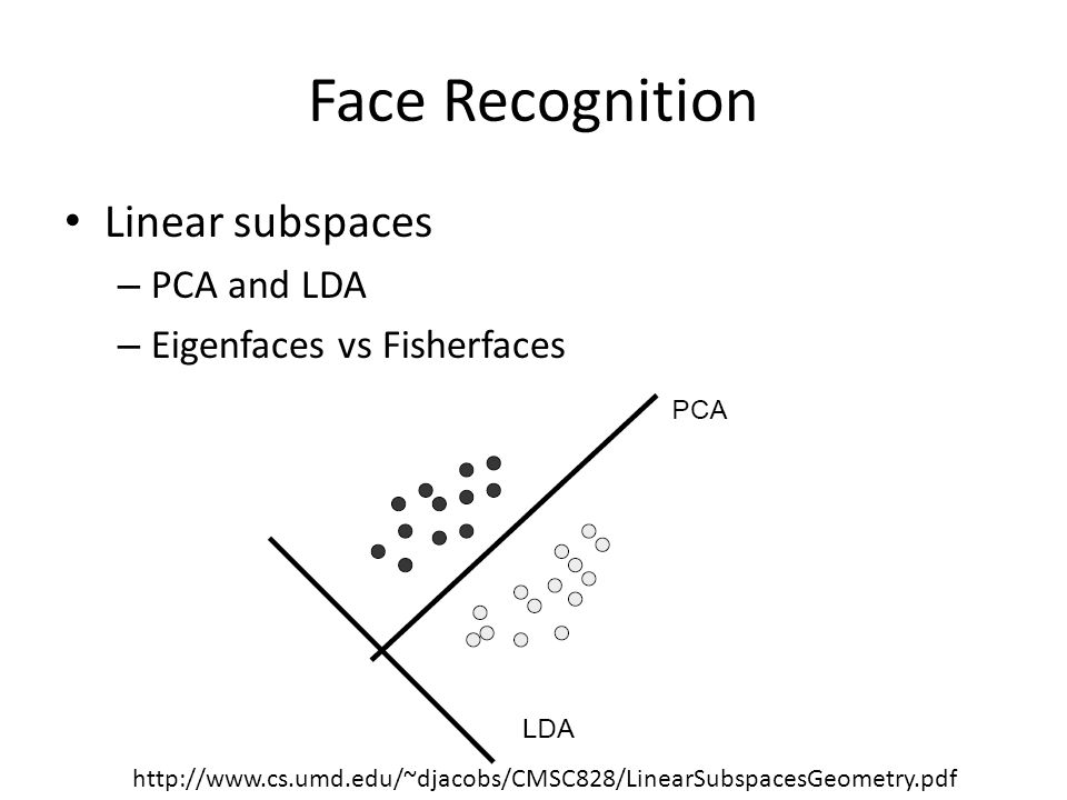 Face Recognition Linear subspaces – PCA and LDA – Eigenfaces vs Fisherfaces http://www.cs.umd.edu/~djacobs/CMSC828/LinearSubspacesGeometry.pdf