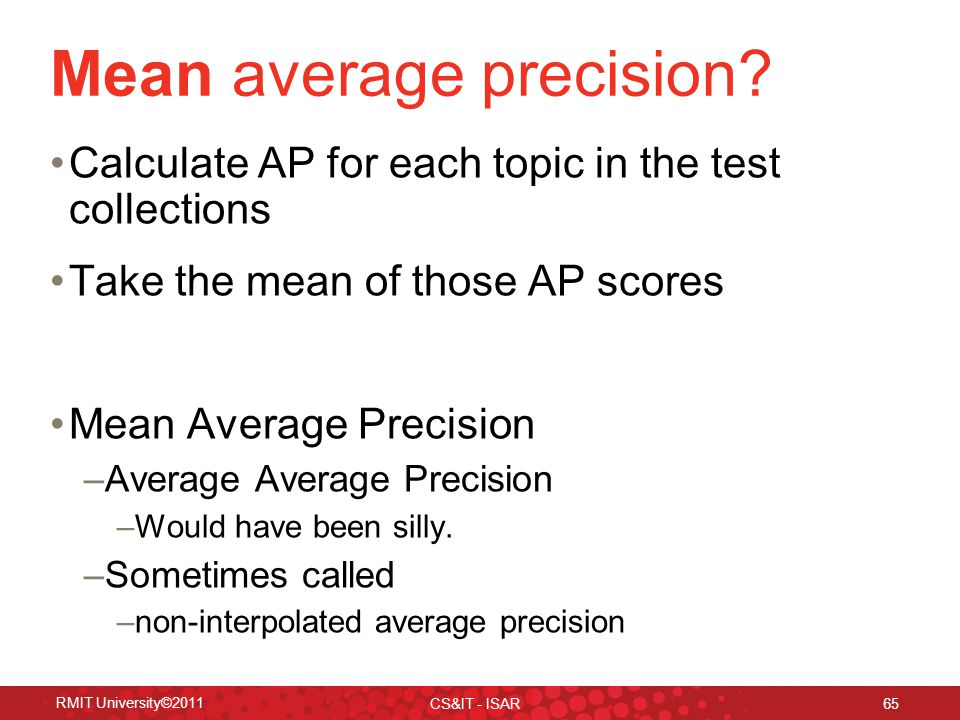 Mean average precision.