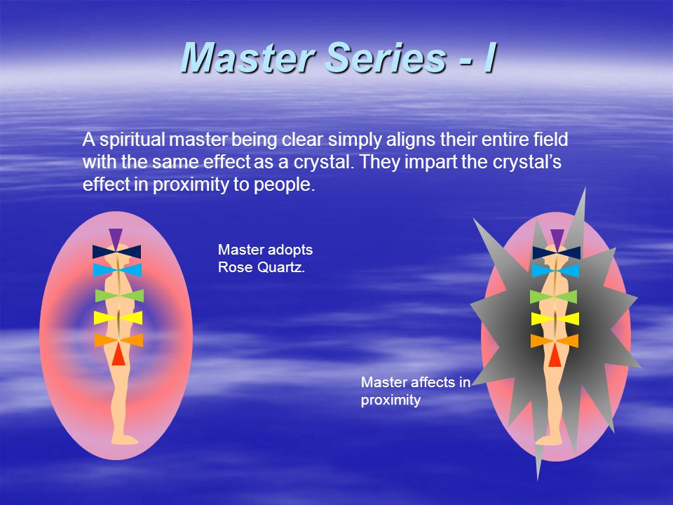 A spiritual master being clear simply aligns their entire field with the same effect as a crystal.