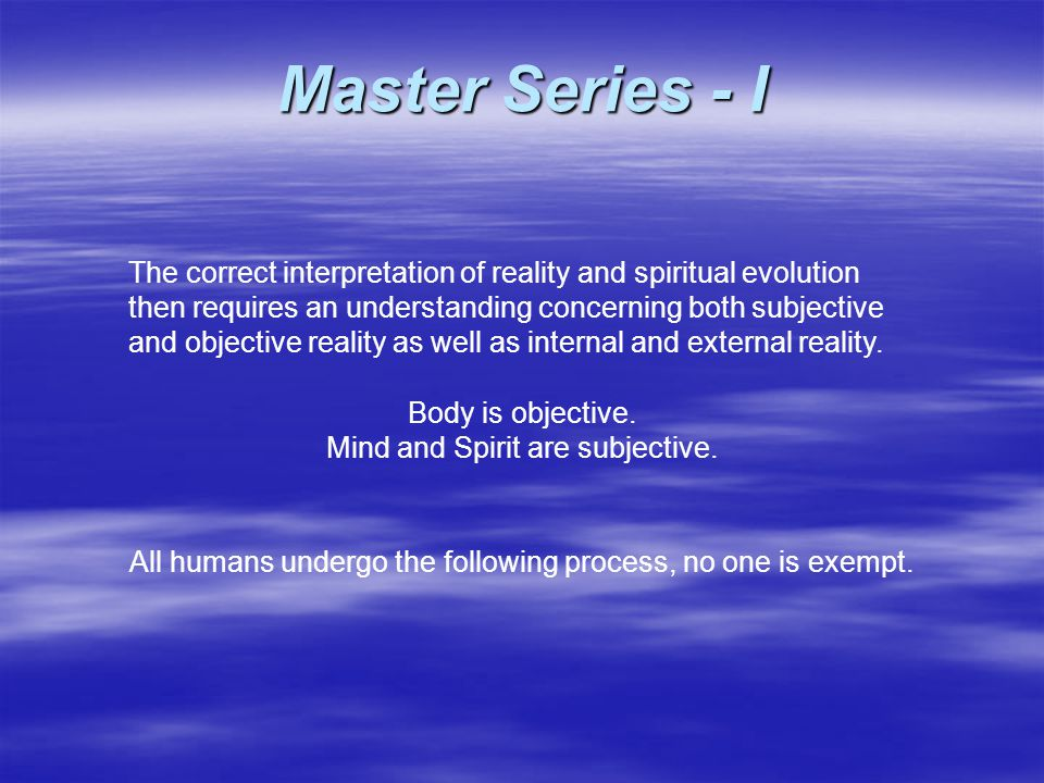 The correct interpretation of reality and spiritual evolution then requires an understanding concerning both subjective and objective reality as well as internal and external reality.
