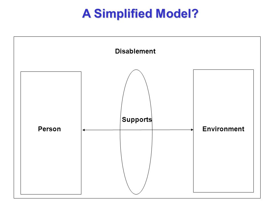 A Simplified Model Environment Supports Person Disablement