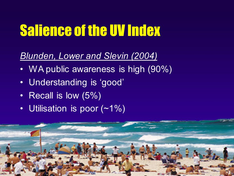 Salience of the UV Index Blunden, Lower and Slevin (2004) WA public awareness is high (90%) Understanding is 'good' Recall is low (5%) Utilisation is poor (~1%)