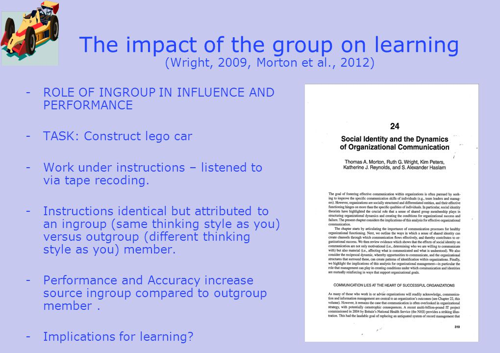 The impact of the group on learning (Wright, 2009, Morton et al., 2012) -ROLE OF INGROUP IN INFLUENCE AND PERFORMANCE -TASK: Construct lego car -Work