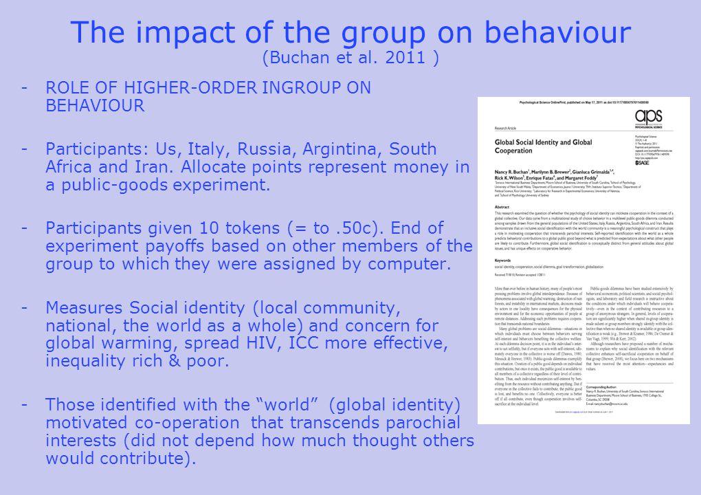The impact of the group on behaviour (Buchan et al.