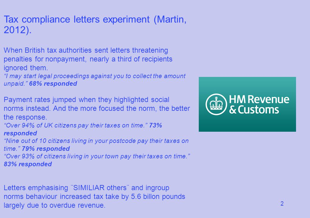 2 Tax compliance letters experiment (Martin, 2012). When British tax authorities sent letters threatening penalties for nonpayment, nearly a third of