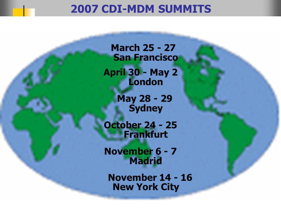© 2007 The CDI-MDM Institute The-CDI-MDM-Institute.com 2007 CDI-MDM SUMMITS March 25 - 27 San Francisco April 30 - May 2 London May 28 - 29 Sydney October 24 - 25 Frankfurt November 6 - 7 Madrid November 14 - 16 New York City