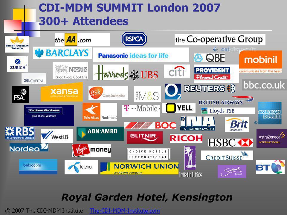 © 2007 The CDI-MDM Institute The-CDI-MDM-Institute.com CDI-MDM SUMMIT London 2007 300+ Attendees Royal Garden Hotel, Kensington
