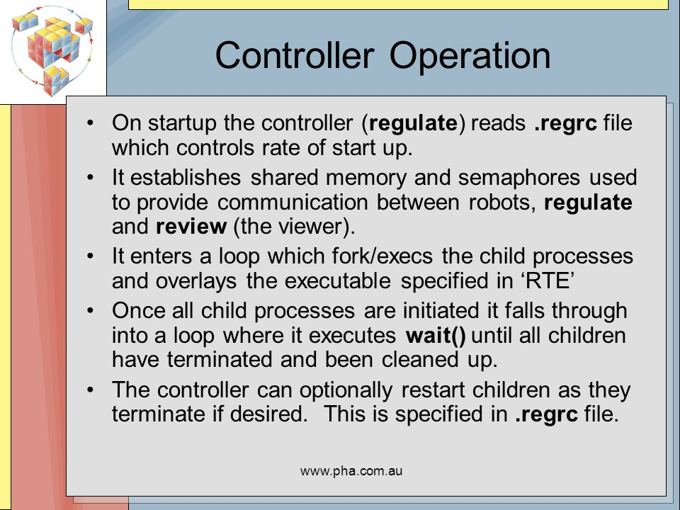 www.pha.com.au Controller Operation On startup the controller (regulate) reads.regrc file which controls rate of start up.