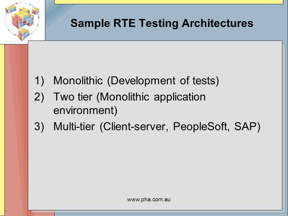 www.pha.com.au Environments ASCII (telnet, rlogin, ssh) Windows X Windows (X11, KDE, Gnome, …) Web –http –https (SSL) Other protocols –ftp, nntp, –Tuxedo –Corba –SQL*Net Java –See: www.precise.com