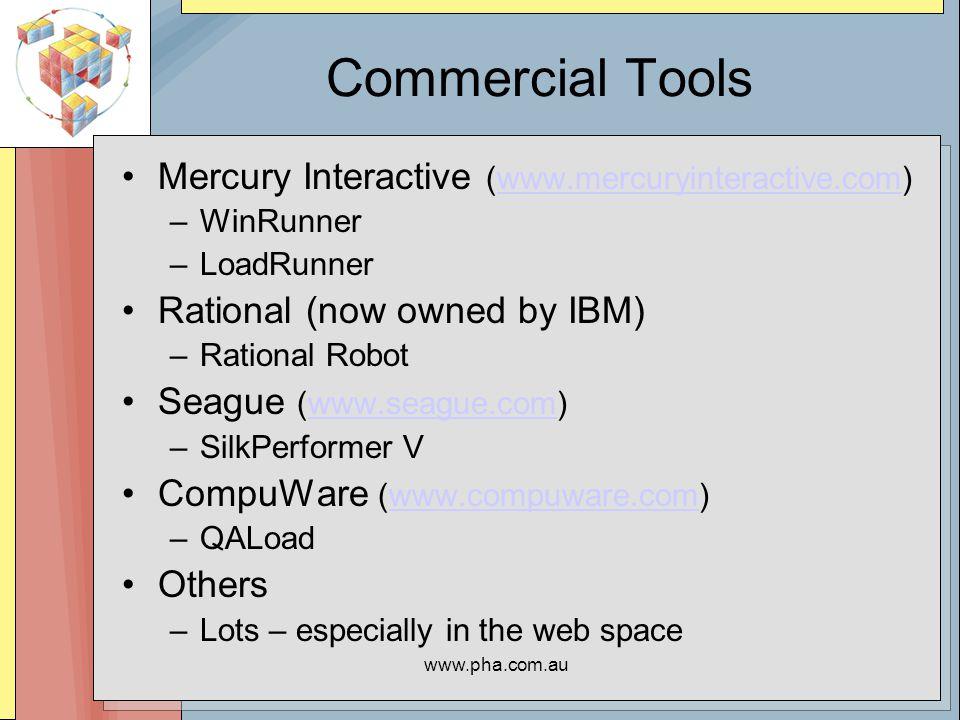 www.pha.com.au Single Tier (Insitu) Benchmark Architectures System Under Test (SUT) + RTE System(s) (Client - Driver System)