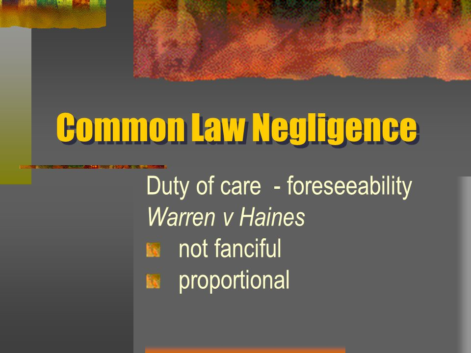 Common Law Negligence Duty of care - foreseeability Warren v Haines not fanciful proportional