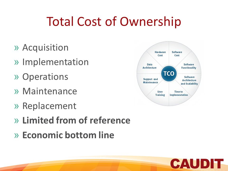 Total Cost of Ownership »Acquisition »Implementation »Operations »Maintenance »Replacement »Limited from of reference »Economic bottom line