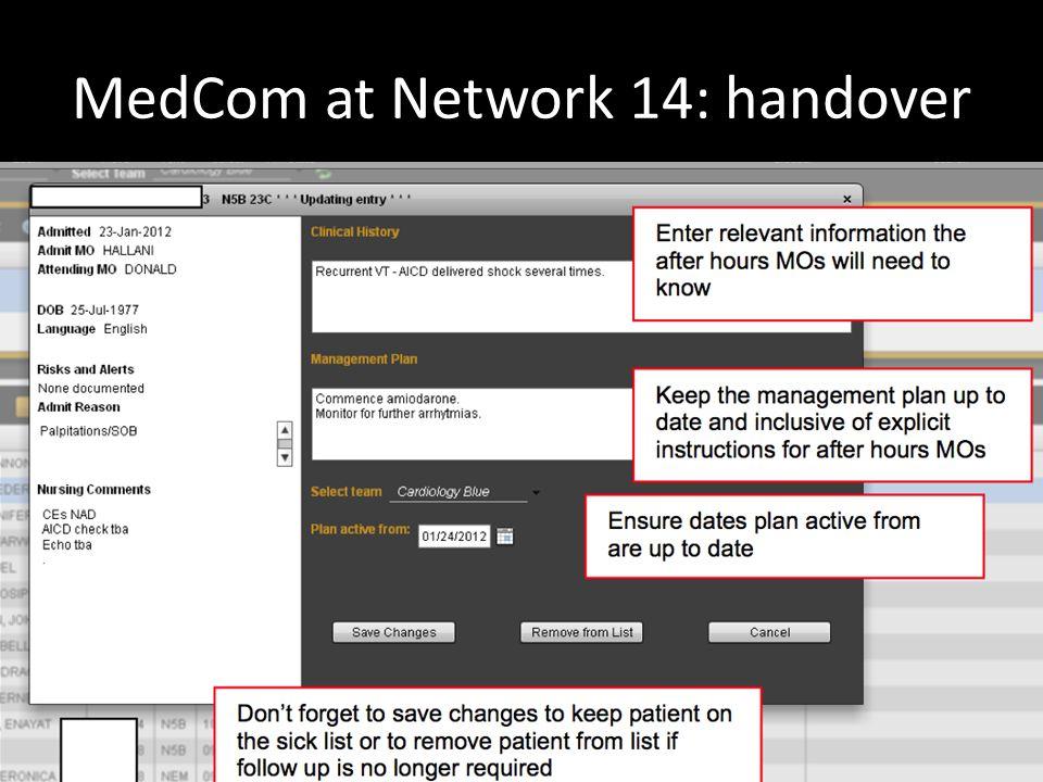 MedCom at Network 14: handover