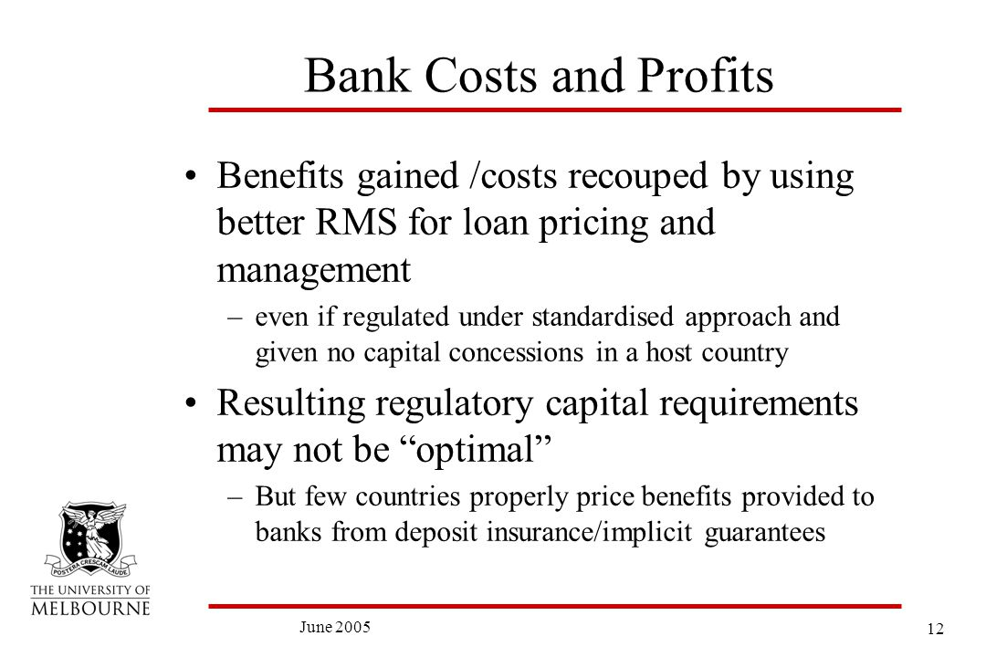 12 June 2005 Bank Costs and Profits Benefits gained /costs recouped by using better RMS for loan pricing and management –even if regulated under standardised approach and given no capital concessions in a host country Resulting regulatory capital requirements may not be optimal –But few countries properly price benefits provided to banks from deposit insurance/implicit guarantees