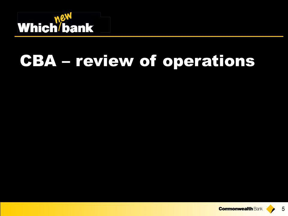 5 CBA – review of operations