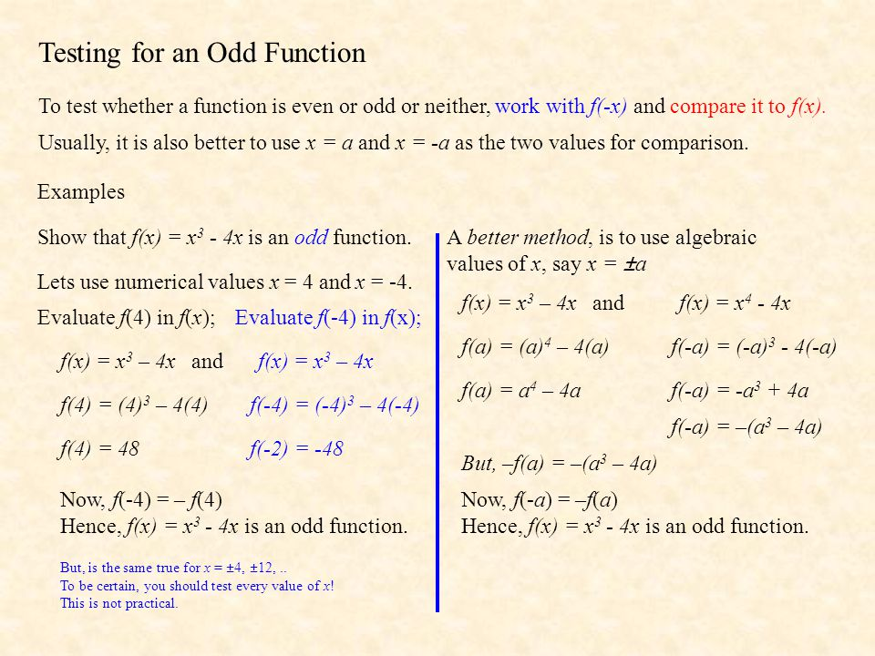 Testing for an Odd Function To test whether a function is even or odd or neither, work with f(-x) and compare it to f(x).