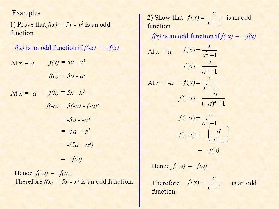 Examples 1) Prove that f(x) = 5x - x 3 is an odd function.