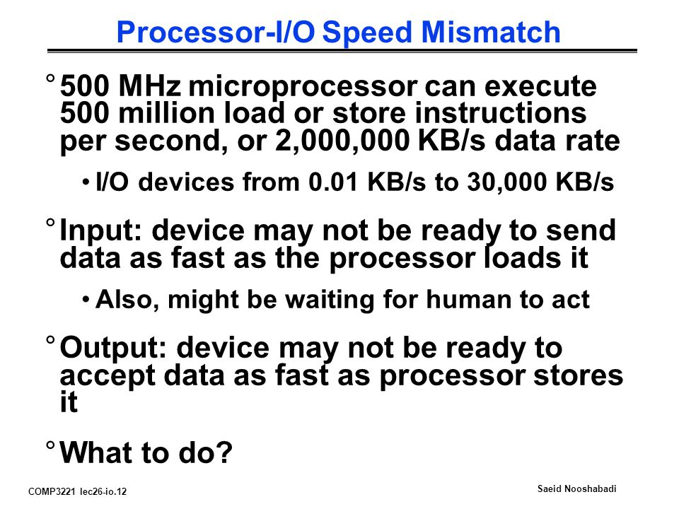 COMP3221 lec26-io.12 Saeid Nooshabadi Processor-I/O Speed Mismatch °500 MHz microprocessor can execute 500 million load or store instructions per second, or 2,000,000 KB/s data rate I/O devices from 0.01 KB/s to 30,000 KB/s °Input: device may not be ready to send data as fast as the processor loads it Also, might be waiting for human to act °Output: device may not be ready to accept data as fast as processor stores it °What to do