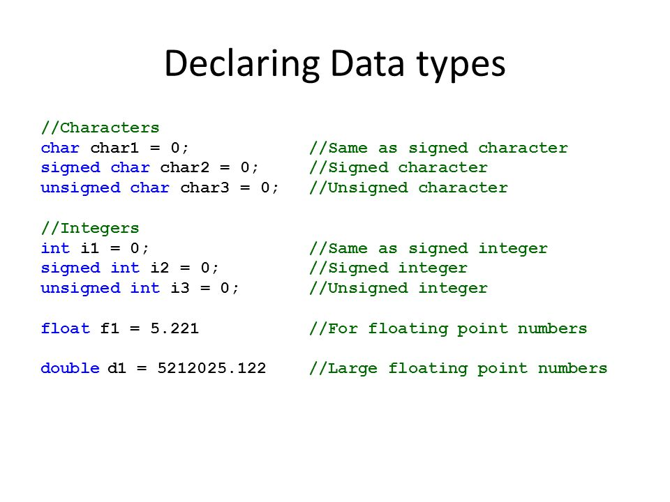 Declaring Data types //Characters char char1 = 0; //Same as signed character signed char char2 = 0; //Signed character unsigned char char3 = 0;//Unsigned character //Integers int i1 = 0; //Same as signed integer signed int i2 = 0; //Signed integer unsigned int i3 = 0; //Unsigned integer float f1 = 5.221//For floating point numbers doubled1 = 5212025.122//Large floating point numbers