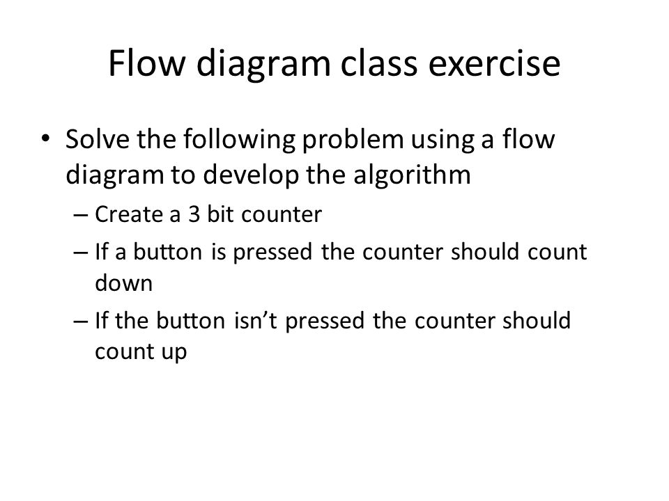 Flow diagram class exercise Solve the following problem using a flow diagram to develop the algorithm – Create a 3 bit counter – If a button is pressed the counter should count down – If the button isn't pressed the counter should count up