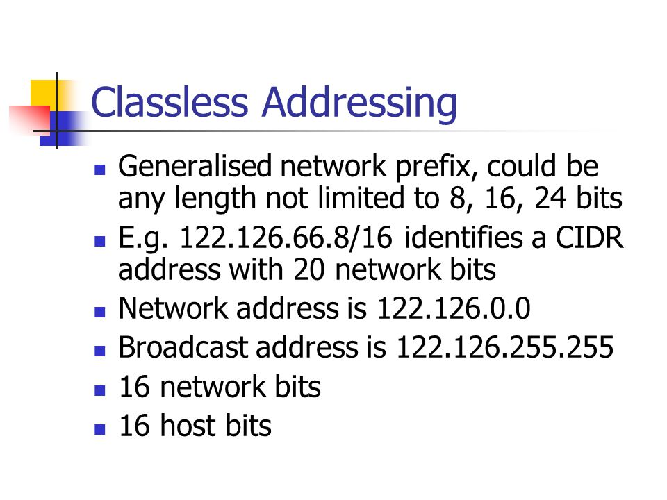 Generalised network prefix, could be any length not limited to 8, 16, 24 bits E.g.