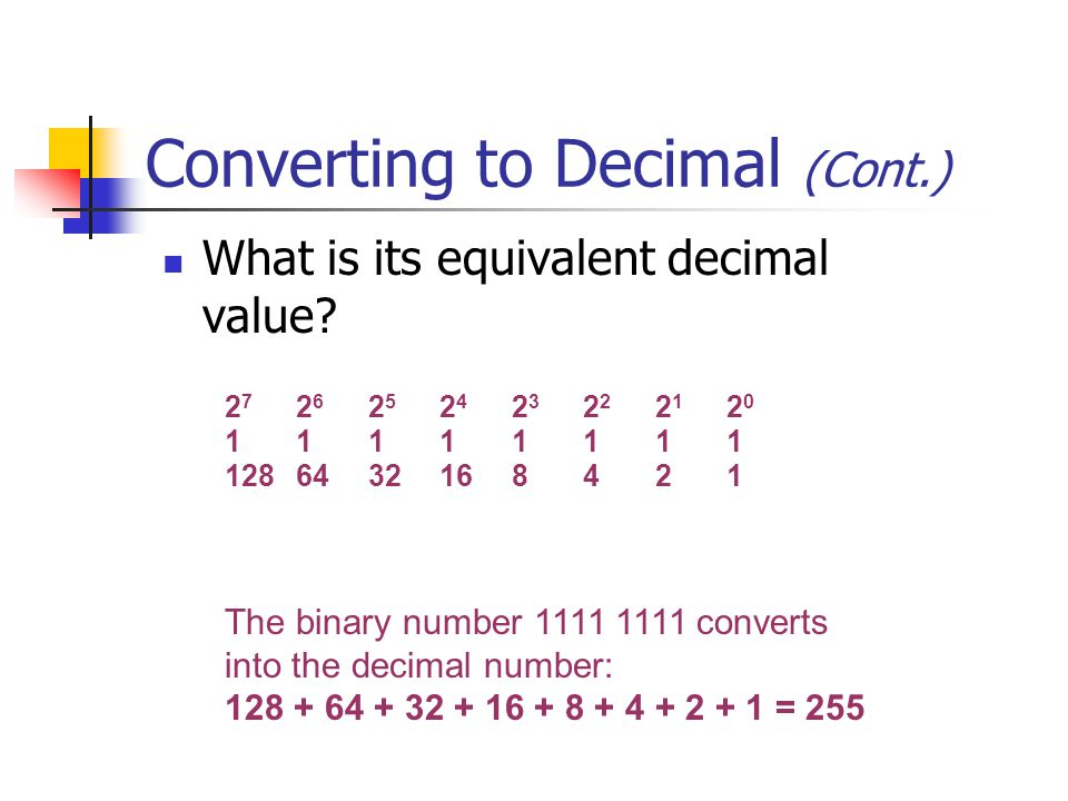 Converting to Decimal (Cont.) What is its equivalent decimal value.