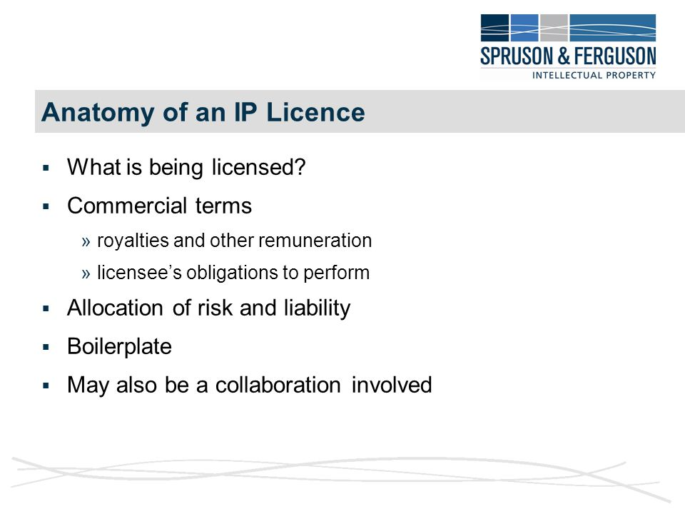 Anatomy of an IP Licence  What is being licensed.
