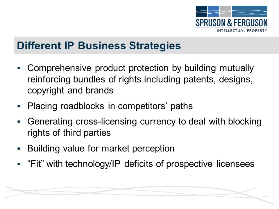 Different IP Business Strategies  Comprehensive product protection by building mutually reinforcing bundles of rights including patents, designs, copyright and brands  Placing roadblocks in competitors' paths  Generating cross-licensing currency to deal with blocking rights of third parties  Building value for market perception  Fit with technology/IP deficits of prospective licensees