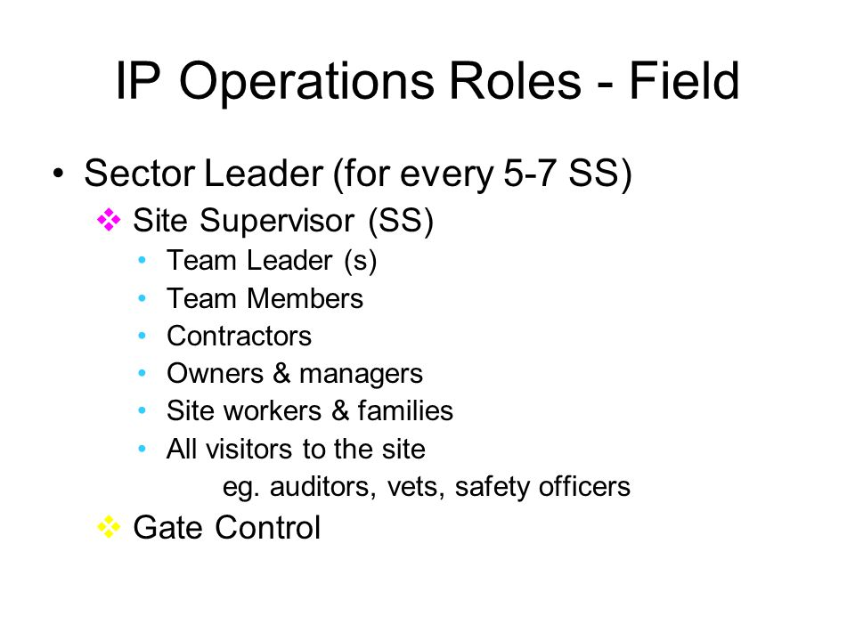 IP Operations Roles - Field Sector Leader (for every 5-7 SS)  Site Supervisor (SS) Team Leader (s) Team Members Contractors Owners & managers Site workers & families All visitors to the site eg.