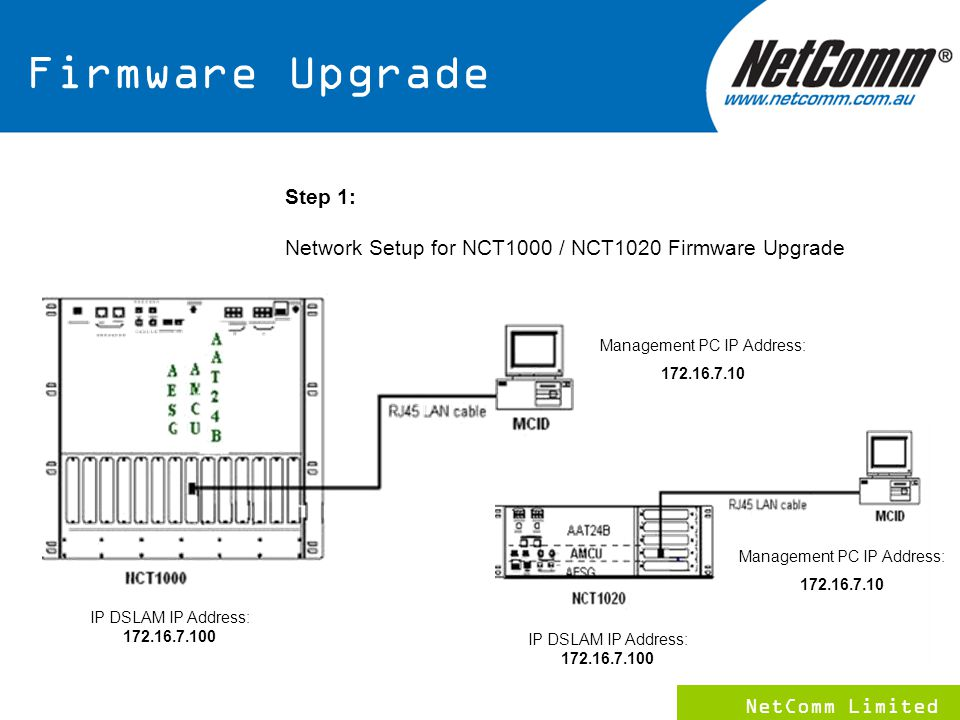NetComm Limited 12 Step 1: Network Setup for NCT1000 / NCT1020 Firmware Upgrade IP DSLAM IP Address: 172.16.7.100 Management PC IP Address: 172.16.7.10 IP DSLAM IP Address: 172.16.7.100 Management PC IP Address: 172.16.7.10 Firmware Upgrade