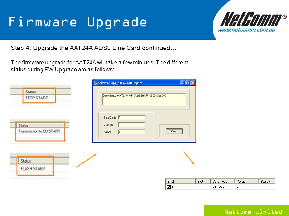 NetComm Limited 15 Step 4: Upgrade the AAT24A ADSL Line Card continued… The firmware upgrade for AAT24A will take a few minutes.