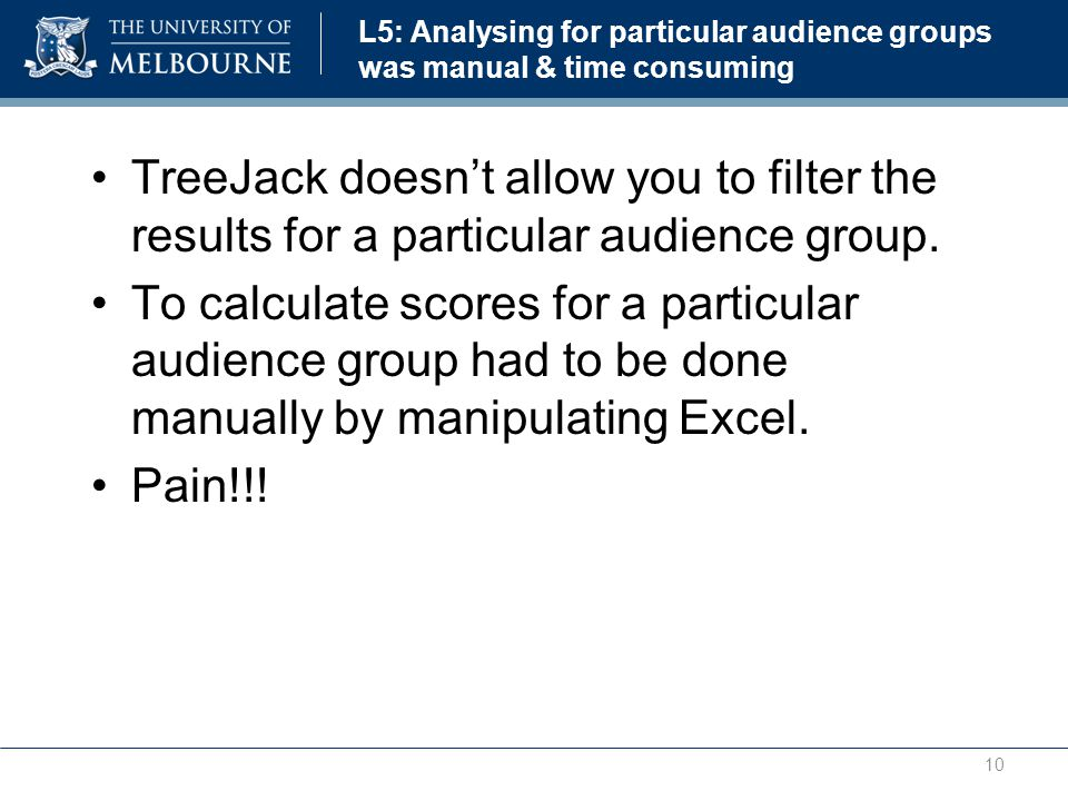 L5: Analysing for particular audience groups was manual & time consuming TreeJack doesn't allow you to filter the results for a particular audience group.