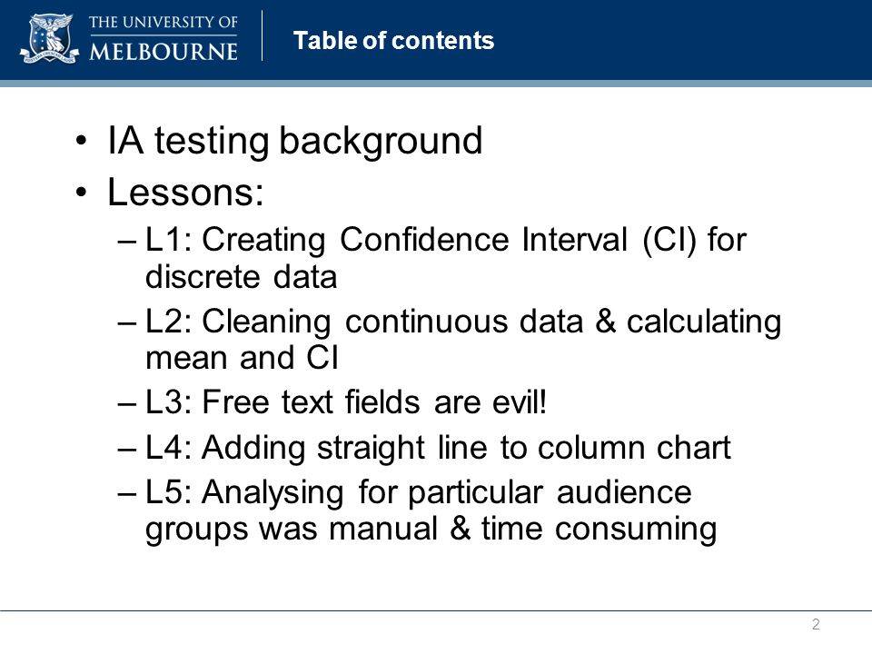 Table of contents IA testing background Lessons: –L1: Creating Confidence Interval (CI) for discrete data –L2: Cleaning continuous data & calculating mean and CI –L3: Free text fields are evil.