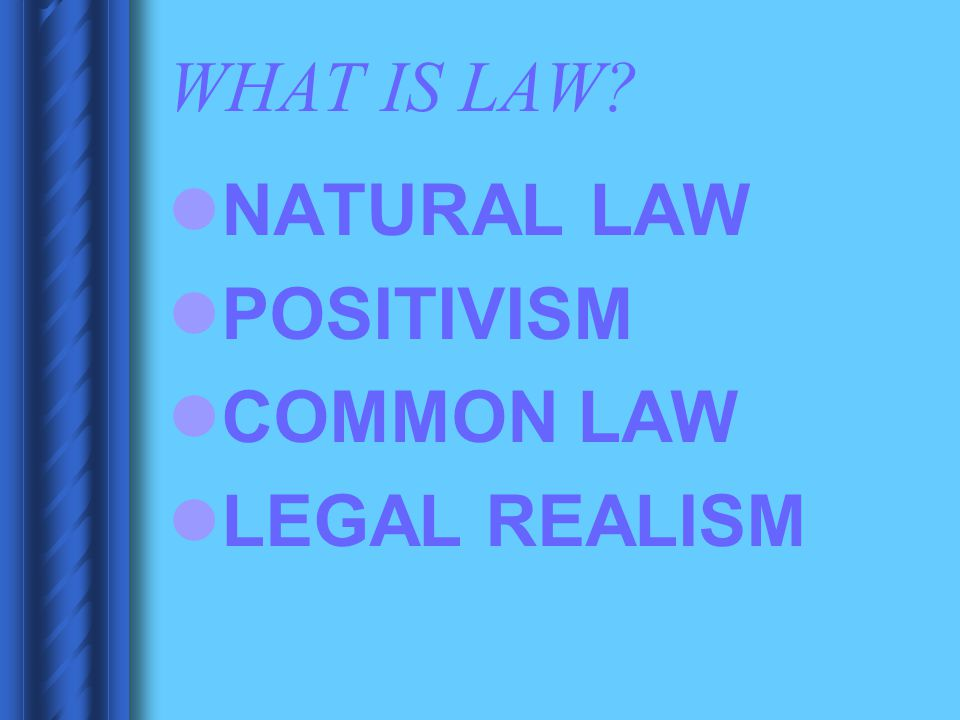 WHAT IS LAW? NATURAL LAW POSITIVISM COMMON LAW LEGAL REALISM