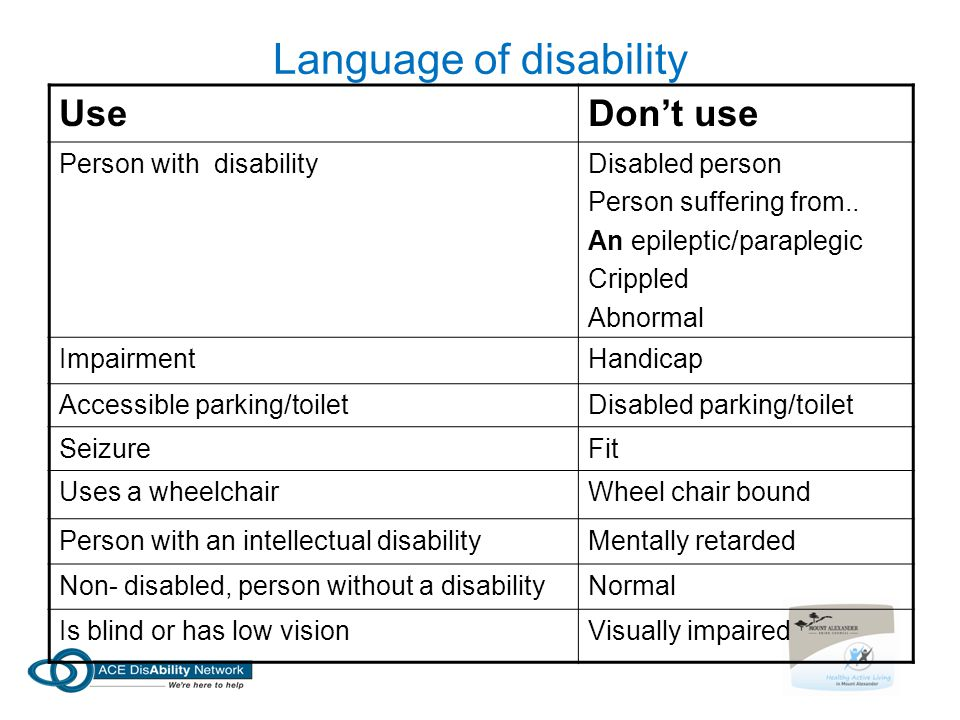 Language of disability UseDon't use Person with disabilityDisabled person Person suffering from.. An epileptic/paraplegic Crippled Abnormal Impairment
