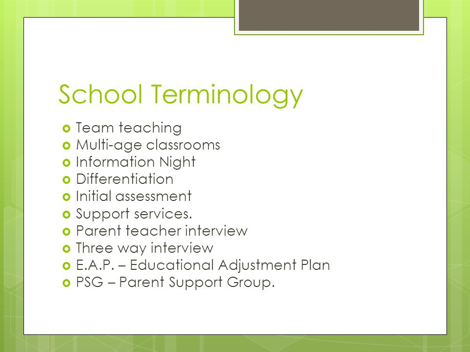 School Terminology  Team teaching  Multi-age classrooms  Information Night  Differentiation  Initial assessment  Support services.